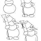 нарисовать снеговика