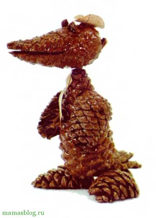 поделки из шишек крокодил