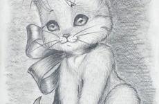 Как рисовать кошку карандашом?