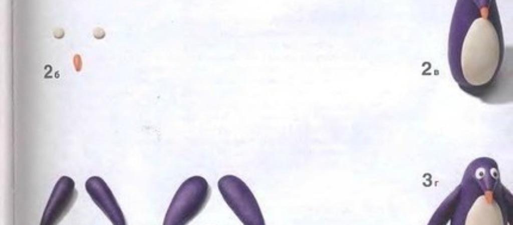 Как лепить пингвина из пластилина?