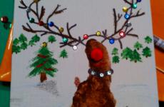 Детские новогодние открытки своими руками и ногами
