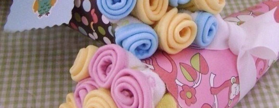 Букеты из одежды для новорожденных