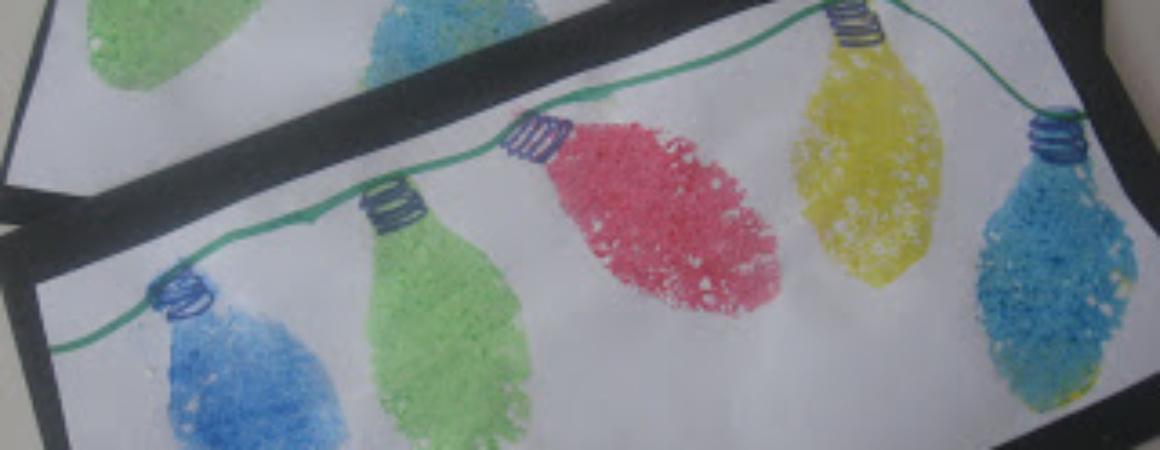 Рисование губкой для детей. Новогодняя открытка