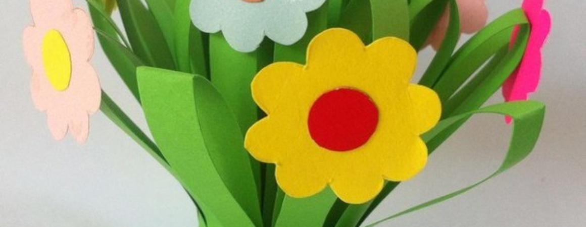 Поделки на 8 Марта: букет цветов из бумаги
