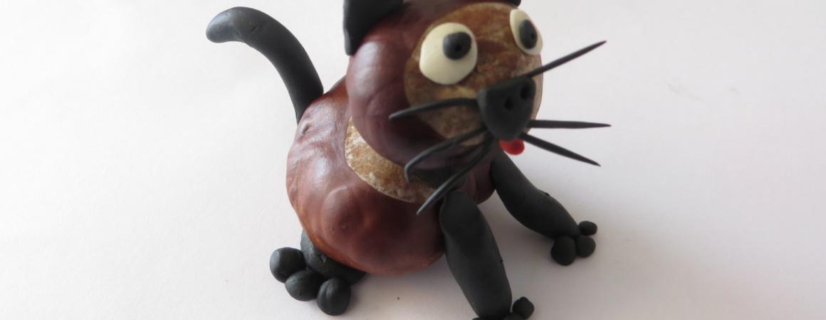 Поделка из каштанов. Кошка из каштанов